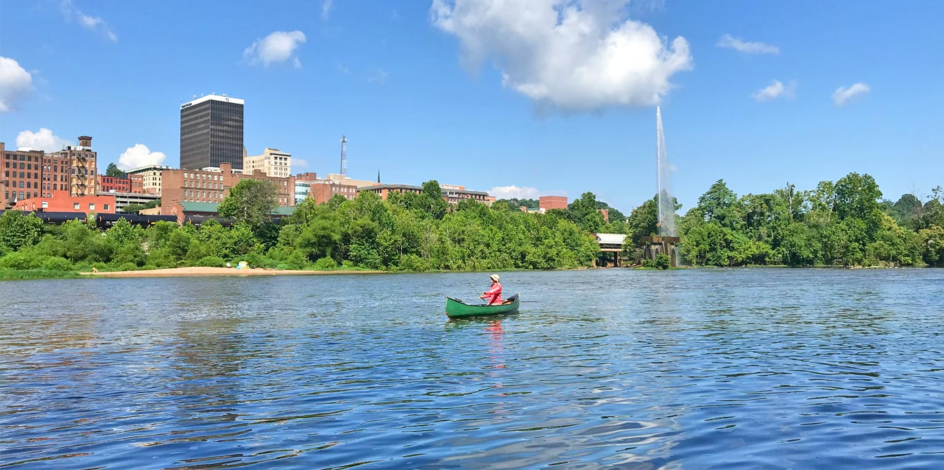 Fishing the James River in the midst of Downtown Lynchburg, Virginia