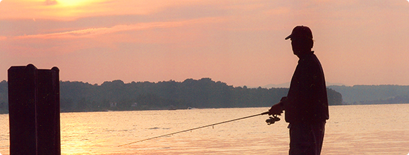Fishing at sunset in Bedford
