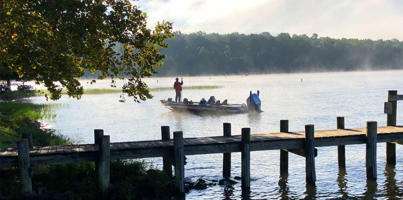 Man fishing in the mist in Spotsylvania County