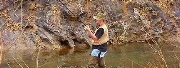 fishing near the shoreline in Bland County Va